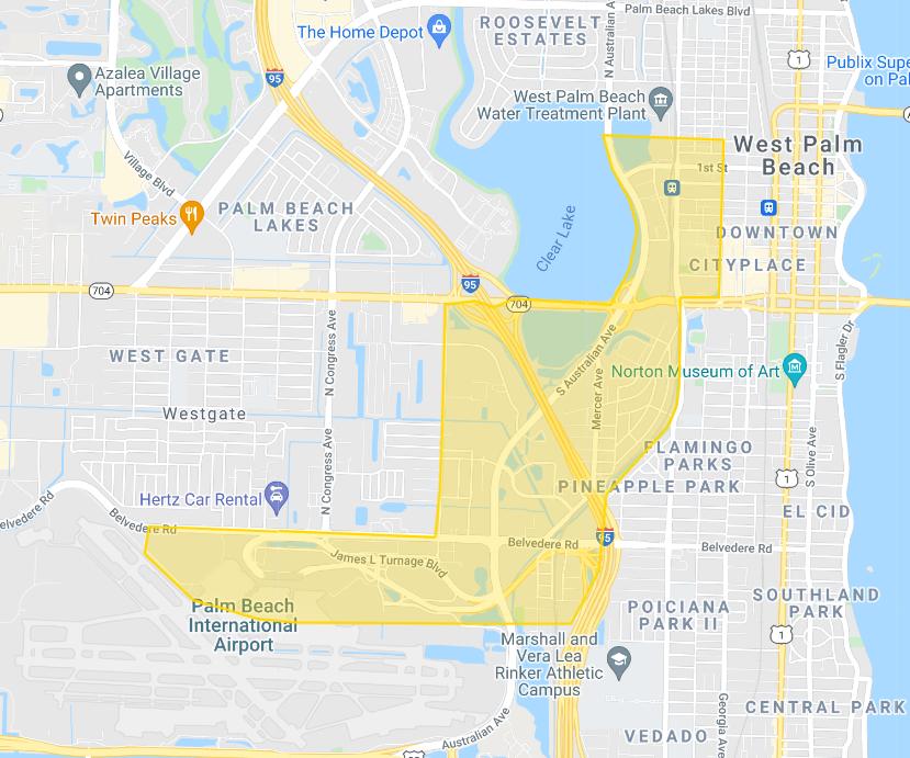 Google Map of Ride Partner Service Area